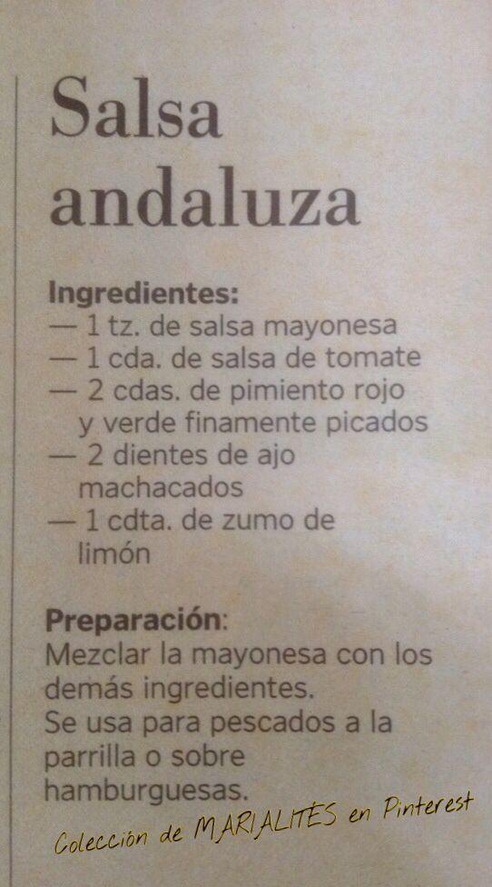 Recetas de cocina. Salsa andaluza