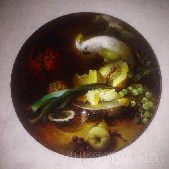 Голландский наюрморт голландский натюрморт копия на папье-машовой оргалитовой шкатулке,можно класть внутрь вещи,круглая,прекрасно подойдет утилитарно.
