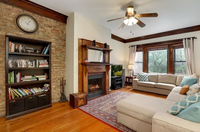 Vintage Living Room With Exposed Brick Wooden Beams Hardwood
