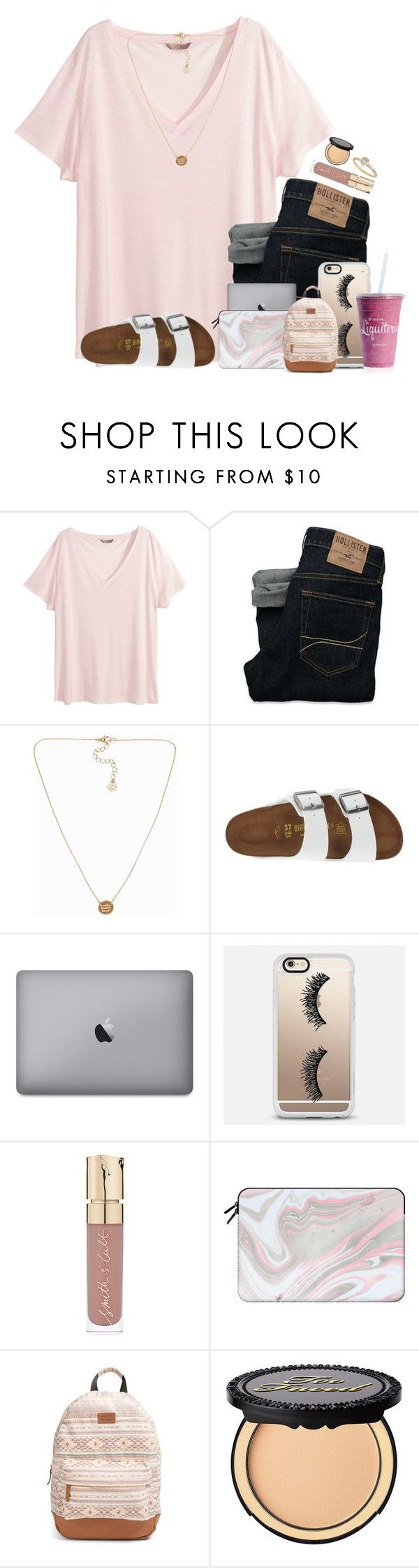 """""""Sophmore year, so far so good    Karina Celeste"""" by those-preppy-gals ❤ liked on Polyvore featuring H&M, Hollister Co., Pieces, Birkenstock, Casetify, Smith & Cult, Rip Curl, Too Faced Cosmetics and Lord & Taylor"""