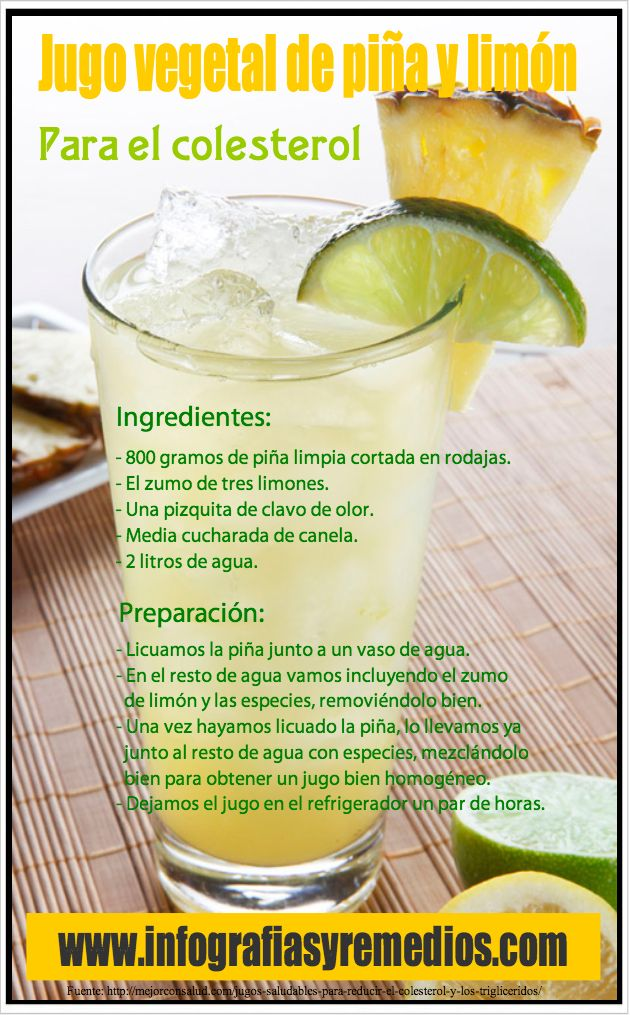 Jugo para el colesterol. Ingredientes: Piña, 3 limones, una pizca de clavo de olor, 1/2 cda. de canela, 2 lts. de agua. #licuado #batido #natural #receta #beneficios #nutricion #alimentacion #salud #saludable #bienestar #digestion #control #dieta #adelgazar #bajar #perder #reducir #peso