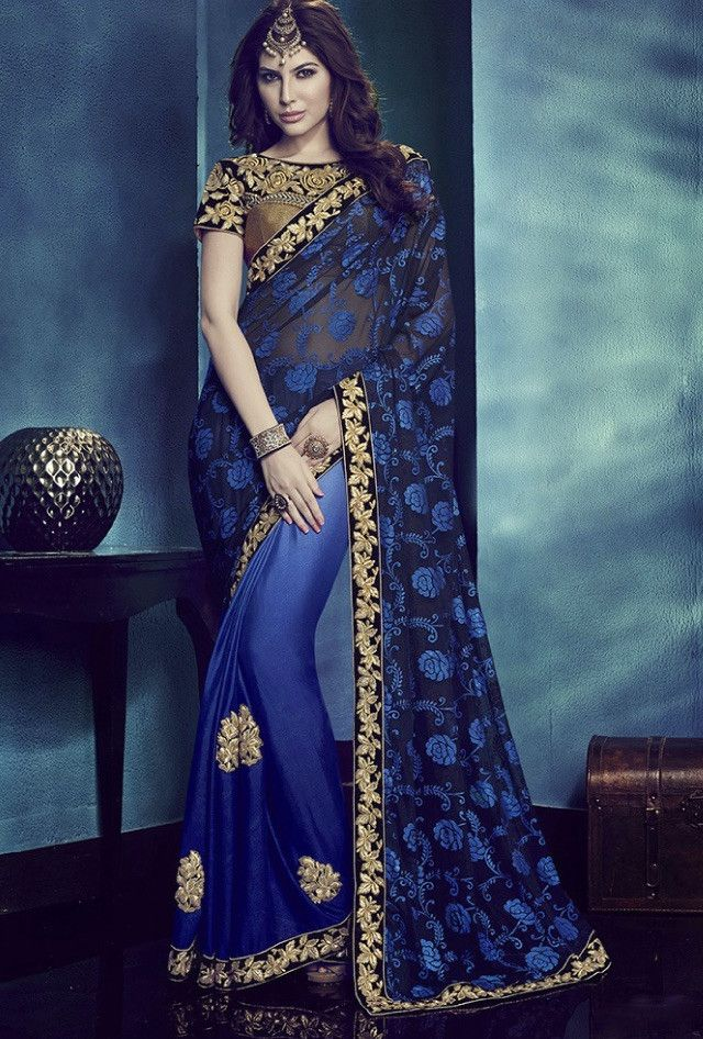 Blue Designer Saree - Desi Royale