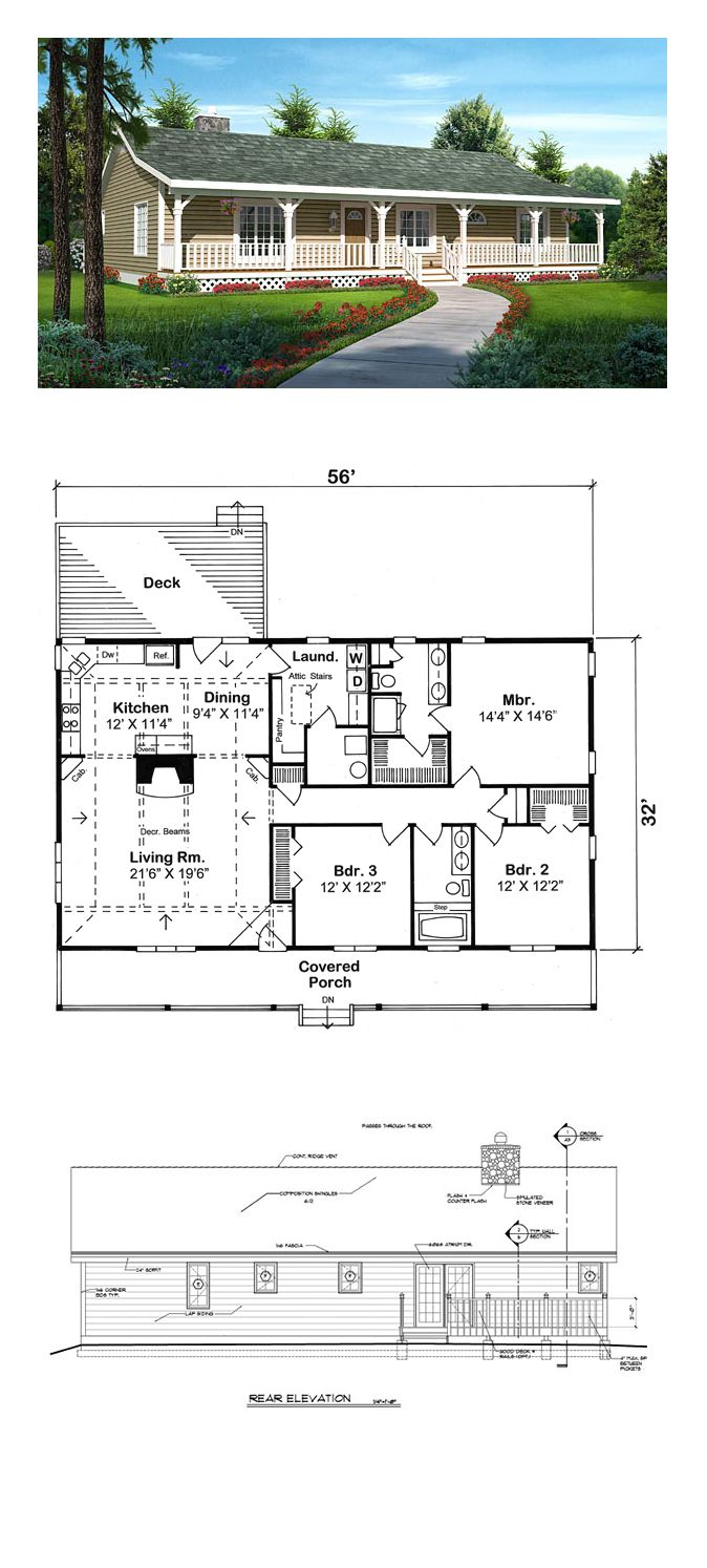 Country House Plan 20227 | Total Living Area: 1792 sq. ft., 3 bedrooms and 2 bathrooms. This economical home-sweet-home can live happily along the coast or curbside in your favorite town. Beautiful decorative beams and slope ceilings enhance the interior. #countryhome