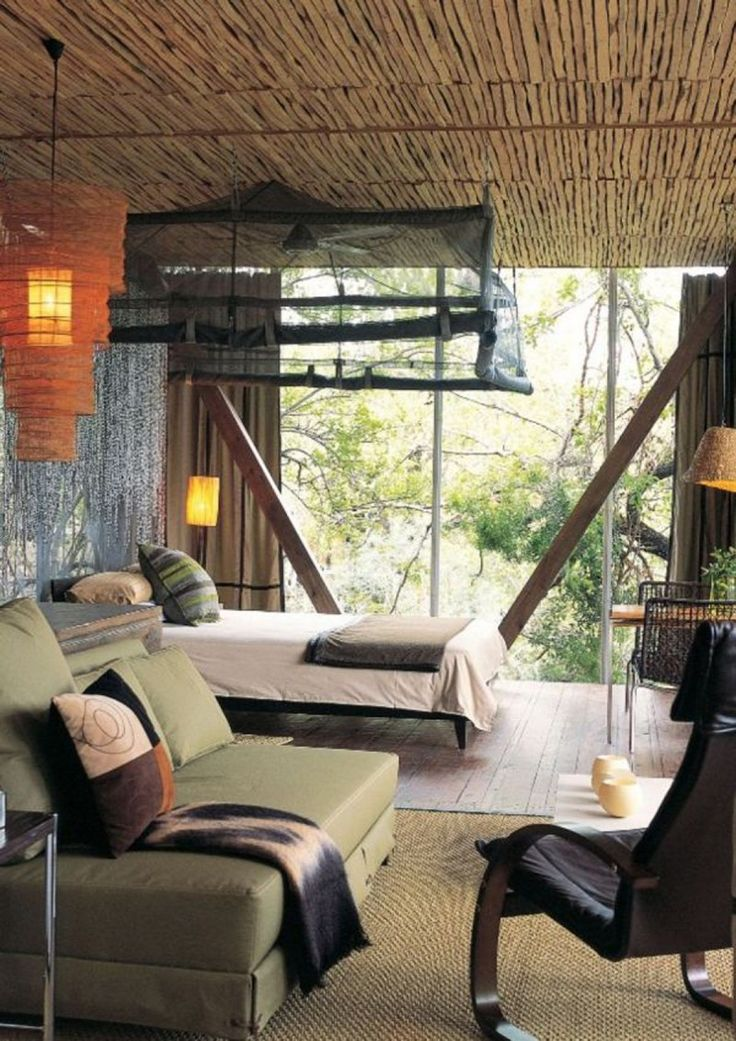 Home Interior : Traditional African Bedroom Interior Design With Natural  Colored Furniture Bamboo Roof Design Unique Single Chair Large Glass Windou2026