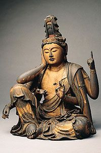 14th Century Bodhisattva of Compassion from Japan. Cypress wood with pigment, gold powder, and cut gold leaf.