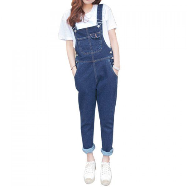 Fashionable Style Sleeveless Pockets Solid Color Denim Women's Cheap Overalls, DEEP BLUE, L in Denim & Jeans | DressLily.com