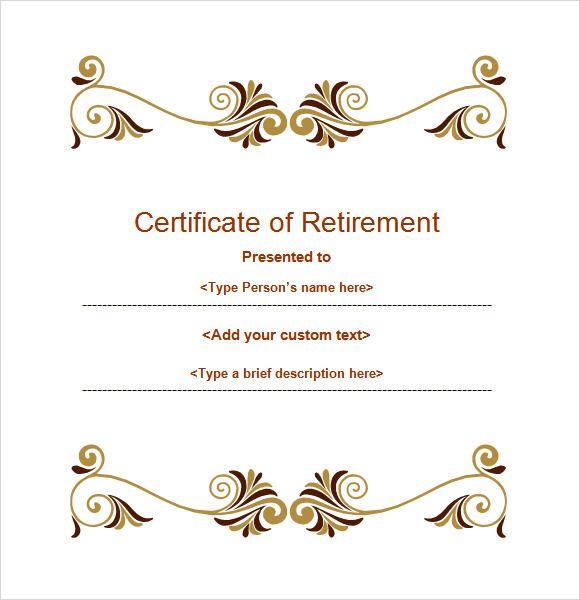 Retirement Certificate Template Retirement Certificate Certificate Templates Gift Certificate Template