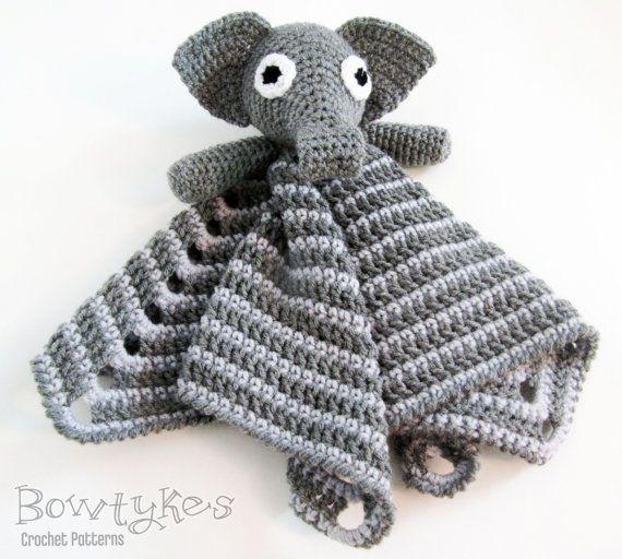 Elephant Lovey CROCHET PATTERN instant download by Bowtykes