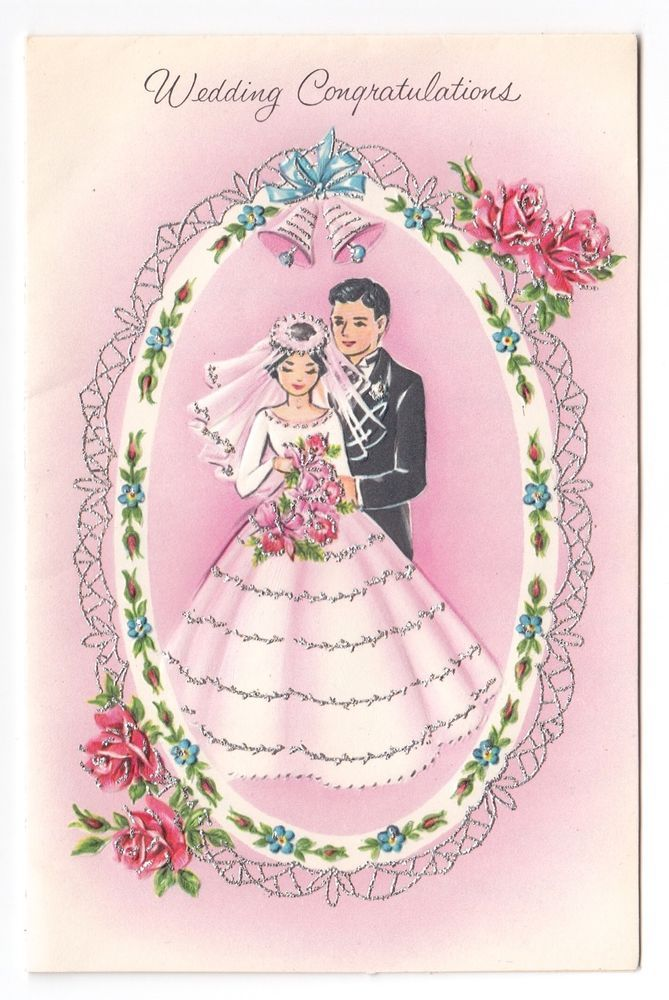 Vintage Greeting Card Cute Wedding Bride Groom 1960s Silver Gilt A875