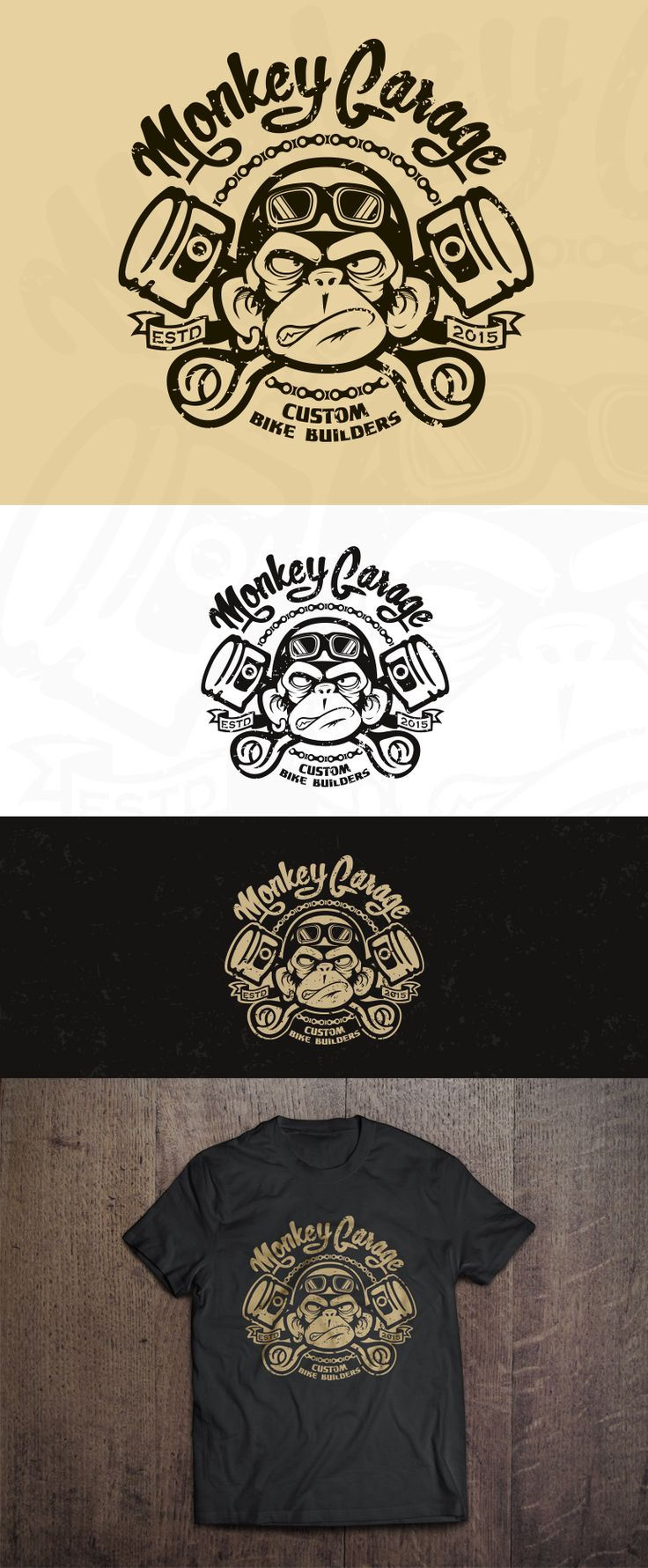 Design #155 by Hazel Anne | create a cool & nice, old school, crazy ape logo for our Monkey Garage http://jrstudioweb.com/diseno-grafico/diseno-de-logotipos/