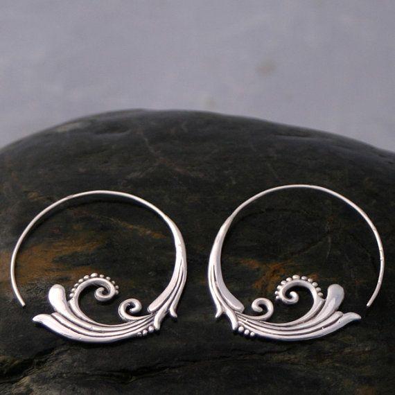 Flourish Hoop Earrings Sterling Silver by sanfranblissco on Etsy,