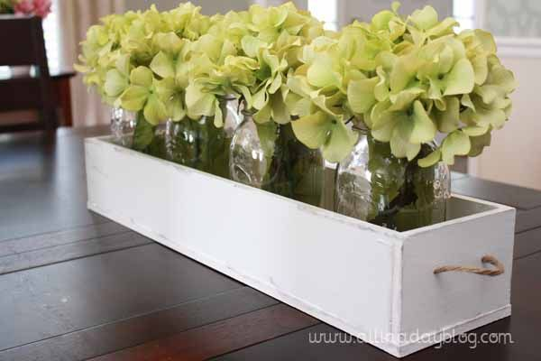 Hydrangeas in mason jars and box (and other great decorating inspiration)