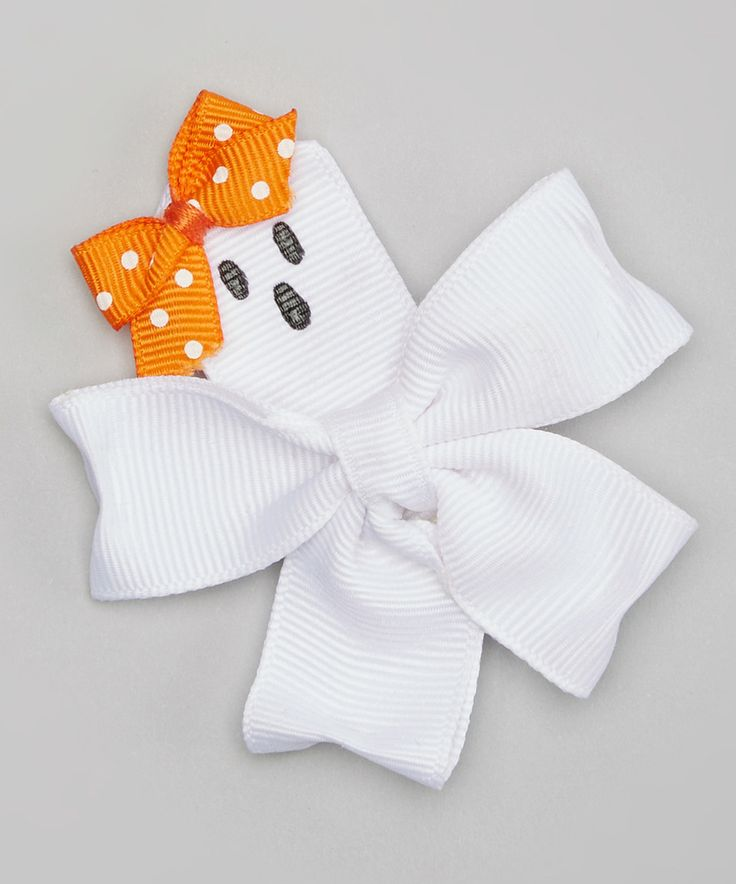 Another great find on #zulily! White & Orange Ghostly Bow Hair Clip by Pink Poseys Bowtique #zulilyfinds