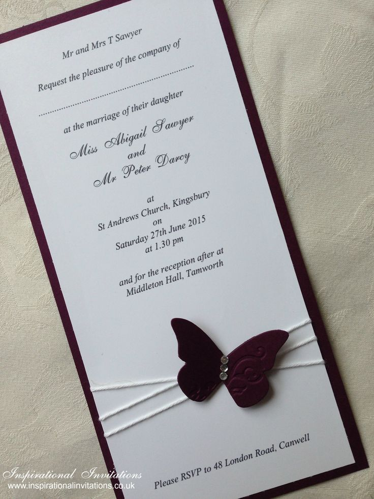 Phoebe - Handmade, Butterfly Wedding Invitation