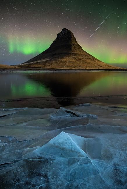 Aurora over Kirkjufell, Iceland.