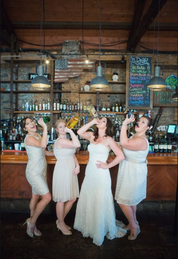 Funny bridesmaid pictures, drinking at the bar, prewedding pics, bridesmaids
