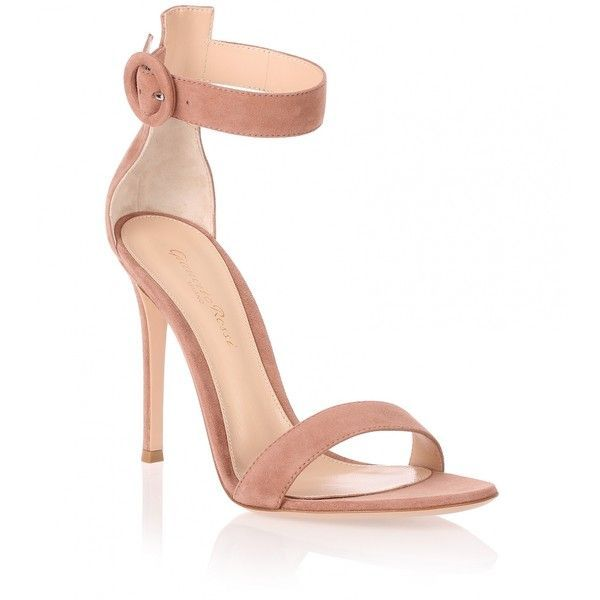 Gianvito Rossi Dark nude suede Portofino sandal (£620) ❤ liked on Polyvore featuring shoes, sandals, heels, beige, ankle tie sandals, nude high heel sandals, suede sandals, ankle wrap sandals and ankle strap sandals