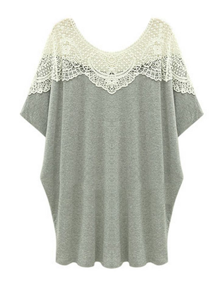 Shop Plus Size Lace Patchwork Short Sleeve Women Casual T-shirt online at Jollychic,FREE SHIPPING!