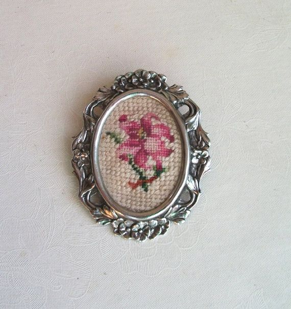 Sweet #vintage Petit point embroidered brooch from The Unique Bird on #etsy . #vett