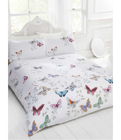 This Mariposa Butterfly King Size Duvet Cover and Pillowcase Set will add the perfect finishing touch to a butterfly themed bedroom. Also available in Single and Double sizes. Free UK delivery available.