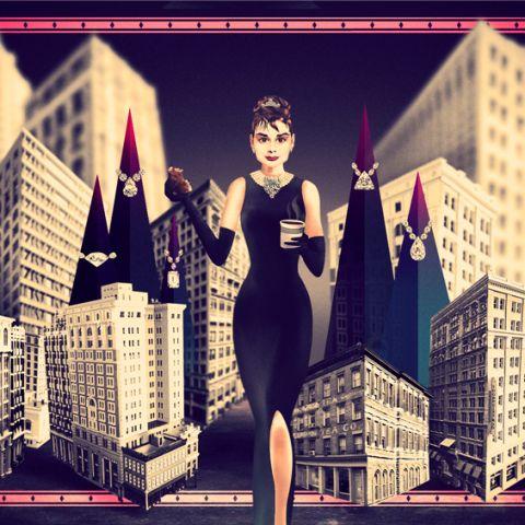 Breakfast at Tiffanys. Ilustración inspirada en Audrey Hepburn. Ha sido realizada en base a dibujo, Illustrator y Photoshop.