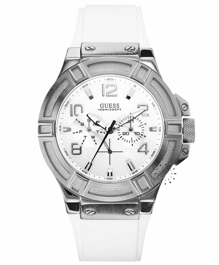 GUESS Gents White Leather Strap Η τιμή μας: 160€ http://www.oroloi.gr/product_info.php?products_id=36290