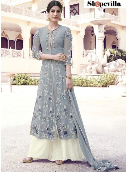 Majestic Grey & Ivory Colour Heavy Net Lehenga Style Suit-33014
