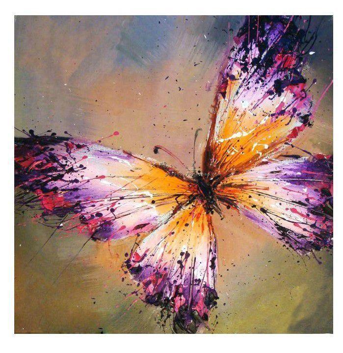 peint à la main l'huile abstraite toile décoration peinture art mural papillon(China (Mainland))