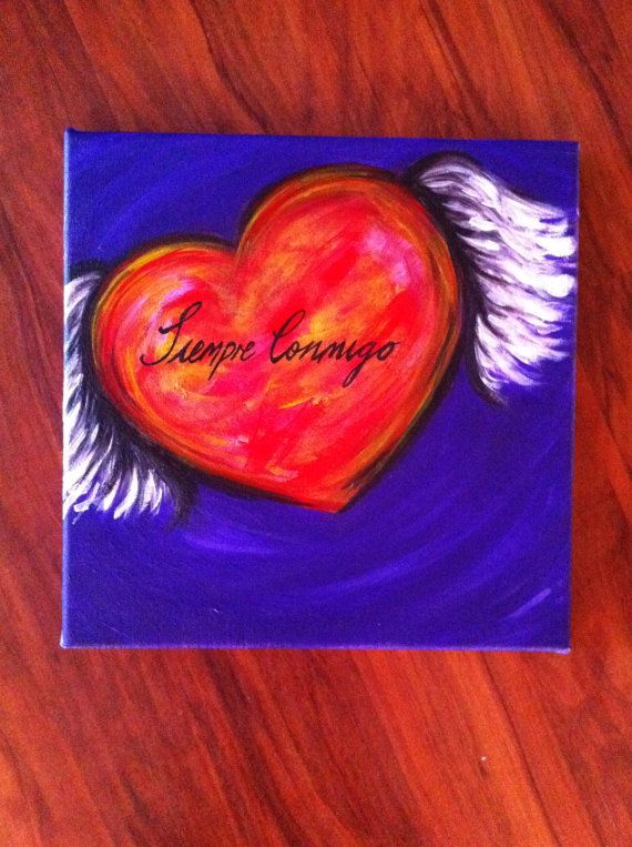Heart Winged Spiritual Artwork  Siempre Conmigo  by RTMDesigns