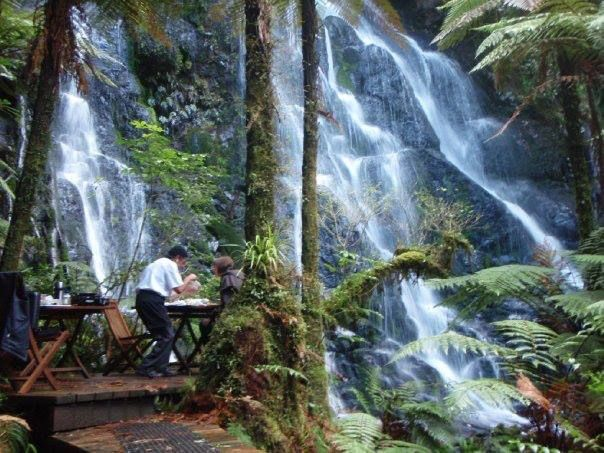 This is at Treetops Lodge (Luxury Premium lodge) at their estate waterfall near Rotorua. You have to stay there the night to get to do this.