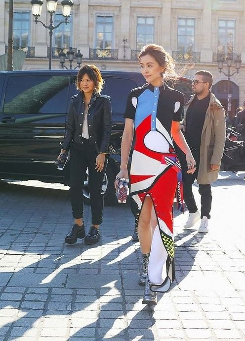 Louis Vuitton dress spotted on the street at Paris Fashion Week. Photographed by Phil Oh.