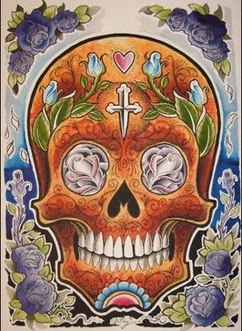 Orange Skull Wall Art - transitional - Decorative Objects And Figurines - In Mode