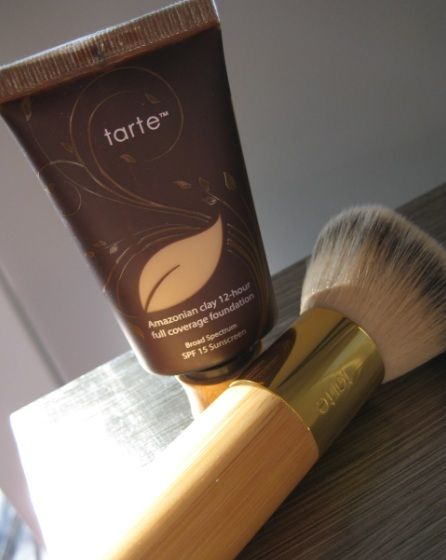 Tarte's Amazonian Clay Full Coverage Foundation. My favorite foundation. And the brush I just can't live without.  Watch QVC for great deals on both.