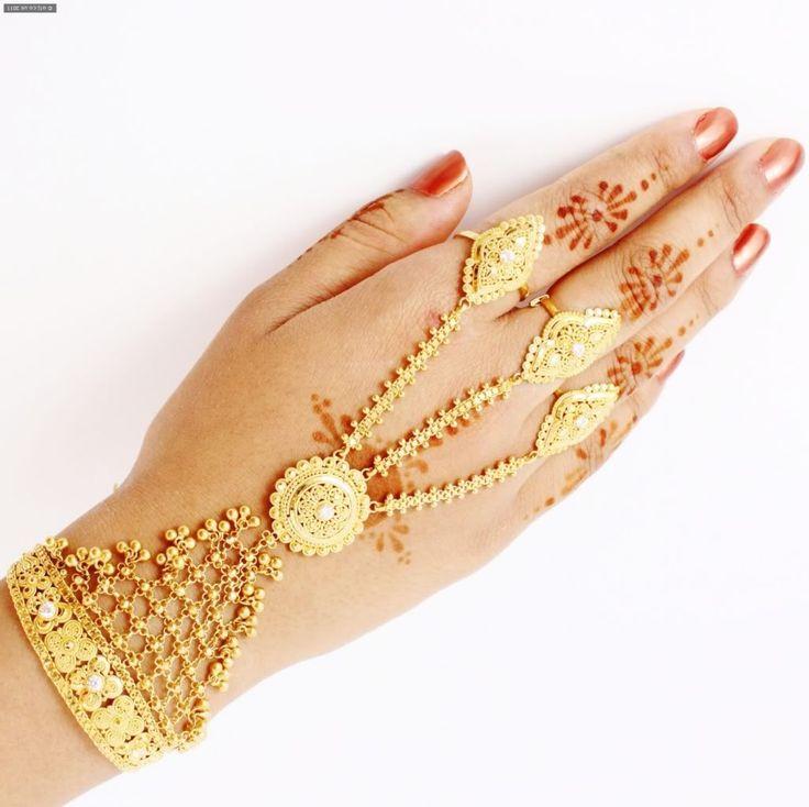 Finger Ring Bracelet Gold