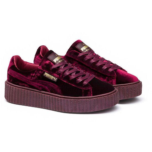 Fenty Puma x Rihanna Mens Velvet Creeper ($150) ❤ liked on Polyvore featuring men's fashion, men's shoes, puma mens shoes, mens velvet shoes, mens shoes and mens creeper shoes