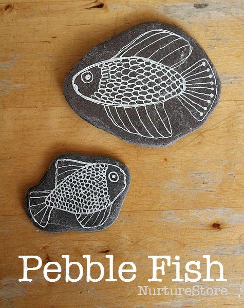 Pebble fish craft - kids rock craft - seaside craft idea - fish art project