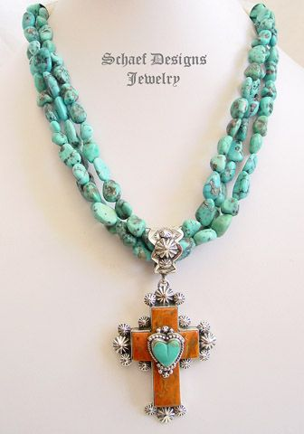 Gary G Apple Coral Turquoise & Sterling Silver Rosette Cross Heart Pendant   Native American, turquoise, & southwestern Jewelry   Schaef Designs Jewelry   New Mexico