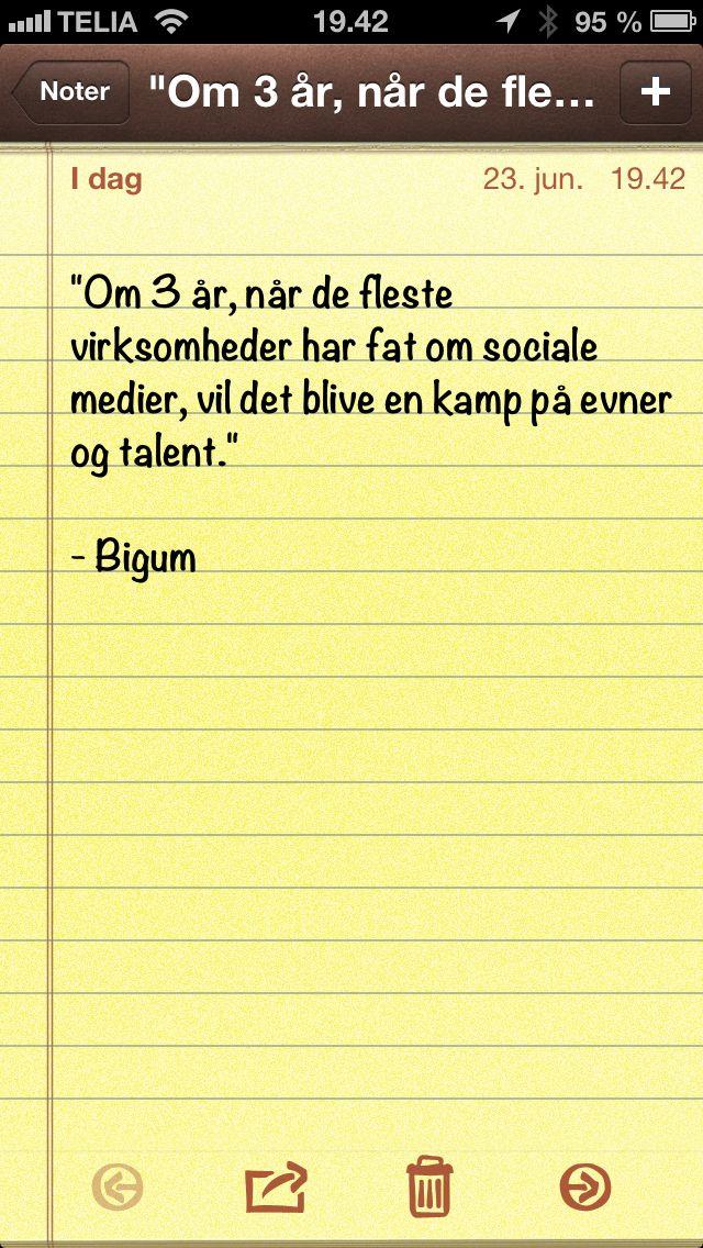 Om 3 år, når de fleste virksomheder har fat om sociale medier, vil det blive... (Dagens citat af @Thomas Bigum)