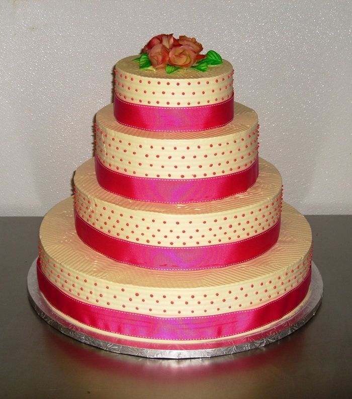 Victorian Wedding Cake Silver And Pink With Butter Cream Iceing
