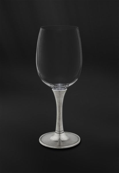Crystal & Pewter Wine/Water Glass - Height: 20,5 cm (8,1″) - Food Safe Product - #pewter #crystal #wine #water #all #purpose #glass #peltro #cristallo #calice #vino #acqua #zinn #kristallglas #weinkelch #wasserkelch #étain #etain #cristal #verre #vin #eau #peltre #tinn #олово #оловянный #glassware #drinkware #barware #accessories #decor #design #bottega #peltro #GT #italian #handmade #made #italy #artisans #craftsmanship #craftsman #primitive