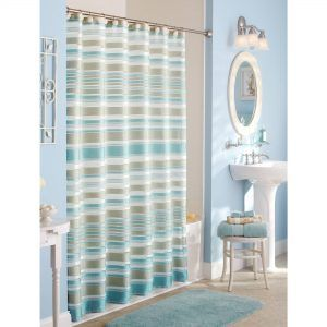 Gray And Yellow Striped Shower Curtain
