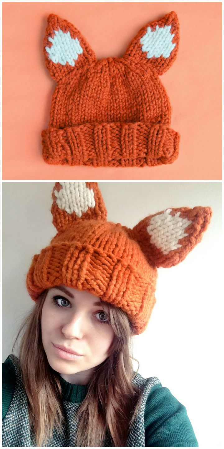 Crochet Super Chunky Foxy Hat Pattern - 50 Free Crochet Fox Patterns - Crochet Fox Hat - DIY & Crafts