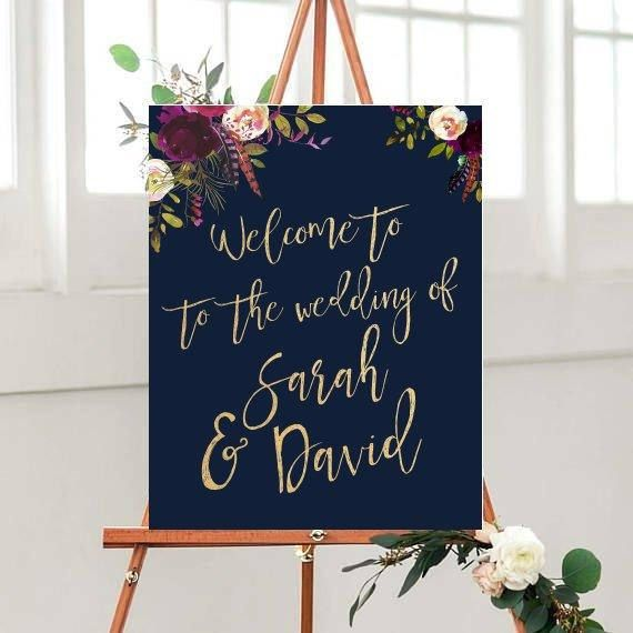 Wedding Welcome Sign Printable Welcome Sign Custom Wedding