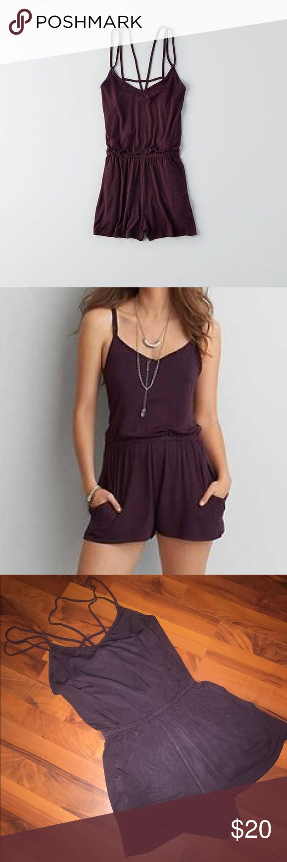 AE Soft and Sexy Cage Back Romper Raisin Wine This AEO Soft and Sexy romper is the perfect combination of comfort and style! It has a defined waist and has a flared bottom. My favorite part about this piece is the caged back, which is perfect to pair with a bralette! It has only been worn a couple times, but is still good as new🌟 American Eagle Outfitters Other