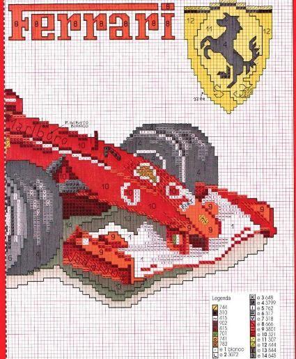 laboresdeesther Punto de cruz gratis : El coche de Ferrari a punto de cruz