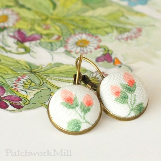 Romantic Leverback Earrings, Vintage Floral Fabric Jewelry, Italian Rosebuds via Patchwork Mill.  #earrings #shabby #chic #jewelry #fabric #quilters #antique