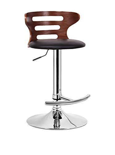 www.myhabit.com This contemporary bar stool is an instant fix to any lackluster space; featuring a durable molded plywood seat finished with faux walnut veneer and a black faux leather seat; polyurethane foam cushioning keeps it comfy; stool also includes a steel base with chrome finish, adjustable height gas piston, and 360° swivel; a protective plastic ring acts as a barrier to keep the base from scratching hard flooring