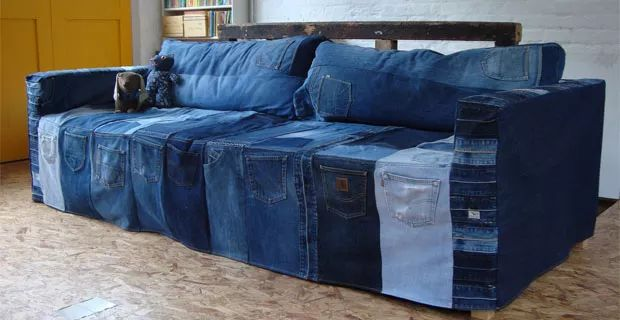 Recycled old jeans covering the sofa