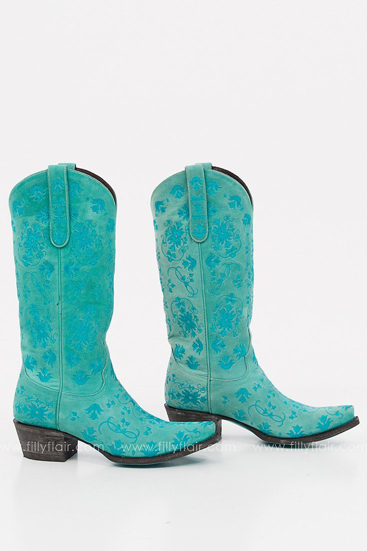 Lane Turquoise Embroidered Western Boot