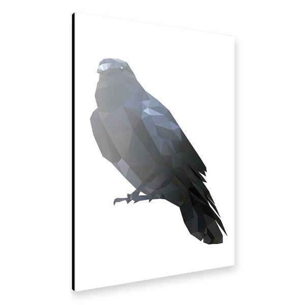"artboxONE Alu-Print 60x40 cm Tiere Geometrie ""Geometrische Rabe"" schwarz hochwertiges Alu-Dibond Bild - Wandbild Tiere Geometrie Kunstdruck von Artkuu"